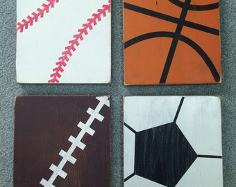 Set of four sports wood pictures, slightly distressed 8x10's nursery decor childrens bedroom basement decor