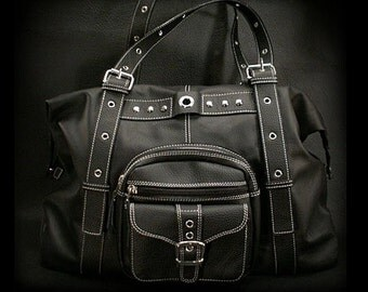 Black Leather Shoulder Bag, Travel Bag K05D47
