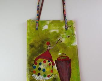 Tote bag, handpainted, unique
