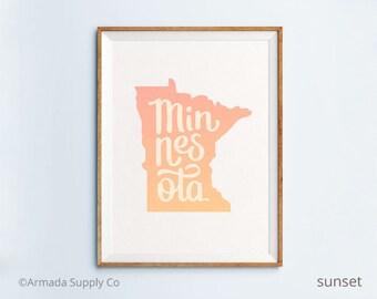 Minnesota print - Minnesota art - Minnesota poster - Minnesota wall art