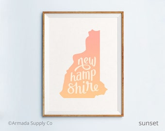 New Hampshire print - New Hampshire art - New Hampshire poster