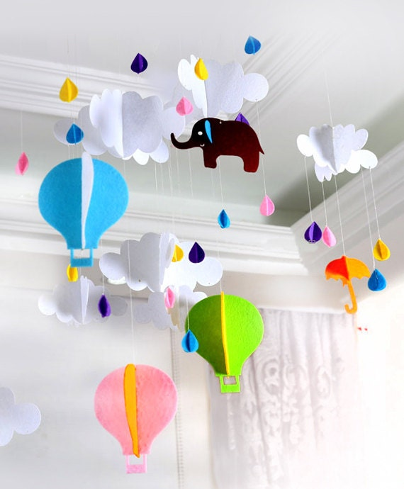 Colorful hot air balloons cloud decorations felt decor for Balloon cloud decoration