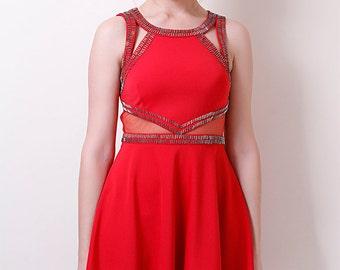 Liquorish Red Beaded Skater Dress