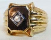 Vintage Mens Diamond & Black Onyx Ring - 10k Yellow Gold (6265-1) FREE SHIPPING!!!