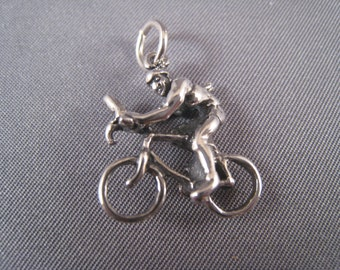 Bicyclist .925 Sterling Silver Charm