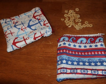Red and blue nautical reusable snack/sandwich bag set