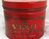 Rare tin box of superfine VIAU candy from Montreal, large red tin box with gold lithographed lettering and patterns