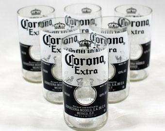 Corona Extra Drinking Glasses - Handcrafted from Recycled Beer Bottles
