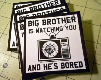 Vinyl Sticker - (small) Big Brother Is Watching You And He's Bored TV