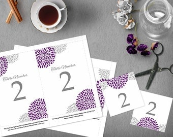 Purple Silver Wedding Table Numbers, 4x6 and 5x7 DIY Table Numbers, Wedding Template, Instant Download, Tented Table Number, DIY Wedding