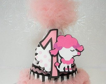 Pink Paris Poodle Paper Party Hat 1st Birthday Polka Dot Black and White Striped  Ooh La La Tulle Trimmed