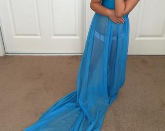 Turquoise Chiffon-Jersey Girl Dress with long train, Children gown, Mammy and me, chiffon girl dress, girl dress
