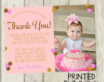 First Birthday Thank You Card, Pink & Gold Glitter Thank You Card, Birthday Thank You, 1st Birthday Thank You Card, Gold Glitter Thank You