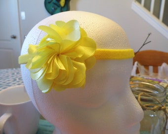 Yellow Satin Flower Headband