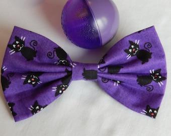 Purple with Black Cats hair bow HANDMADE hair accessory