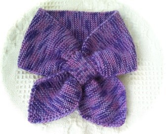 Slotted Bow Tie Scarflette/Neck Scarf/ Purple/Ready to ship!