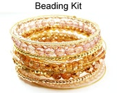 Bangle Bracelet Beading Kit - Beaded Memory Wire - Wire Working - Bangle-icious in Rosaline, Copper and Gold #7785