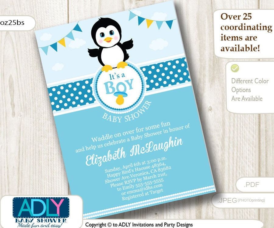 boy penguin baby shower invitation party card for a baby