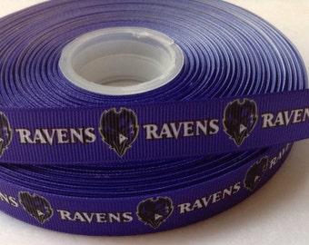 "4 Yards of 5/8"" Baltimore Ravens Grosgrain Ribbon"
