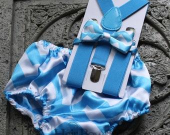 1st Birthday boy,cake smash,diaper cover,bow tie ,Suspenders,blue chevron
