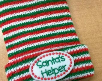 HOLIDAY Babies! Newborn Santa's Helper CHRISTMAS Red/Green/White Stripe  Holiday Hospital Hat! Gender Neutral. Baby's 1st Keepsake!