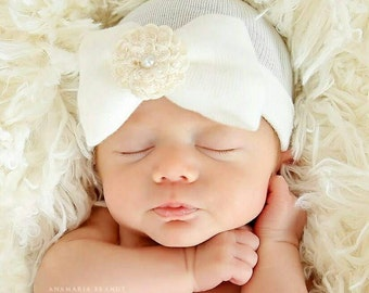 Newborn Hospital Hat Baby's 1st Keepsake!. Newborn Baby Hats. With Pretty Bow,  Flower and Pearl. Choice of FLOWER COLOR!