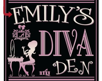 Personalized Diva Den Hardboard Wall Sign