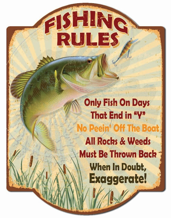 Fishing rules hardboard wall sign for Illinois fishing regulations