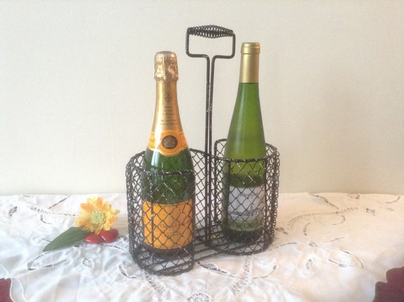 Wonderful french rustic charm intricate wire wine bottle - Wire wine bottle carrier ...