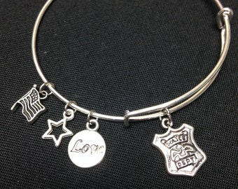POLICE silver alloy wire wrap bangle bracelet with FREE SHIPPING