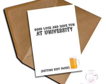 Funny good luck at university card A5