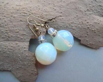 Opalite large faceted glass dangle earrings - opalite jewelry - artificial moonstone earrings