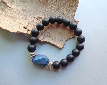 Black matte onyx blue rock crystal quartz stretch bracelet - blue black jewelry