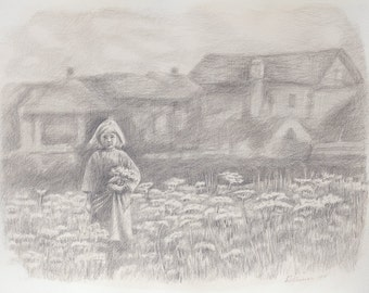 Memories of a Childhood SILVERPOINT DRAWING Original Artwork Girl With Flowers 32×41cm Home Decor Living Room Wall Decor Wall Hanging Art