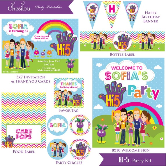 Customized Hi-5 Digital Printable Birthday Invitation And