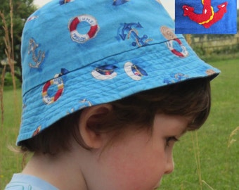 Sewing Pattern Pdf Childrens Hat Sun Kids Reversible Digital Download Beach