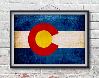 Colorado Flag Print, Colorado Poster,  Colorado Flag Art, Colorado Art Print, Wall Art, Wall Decor, State Poster [PP008-P]