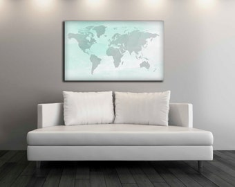 Watercolor  World Map Canvas Print, Wall Decor, World Map Canvas Print, World Map Art Decor, Watercolor Nursery, Office