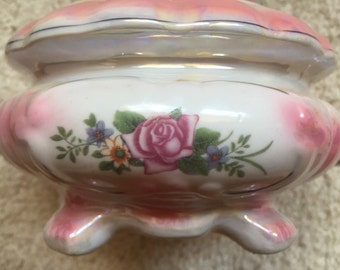 Pink Rose Trinket Bowl Candy Dish Glazed Chinese Porcelain Covered Bowl Vintage Chinese Pottery Art Dish