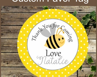 Yellow Bee Favor Tags / Instant Download Party Decoration Printable Label / Cupcake Topper / Bumble Bee Custom Sticker