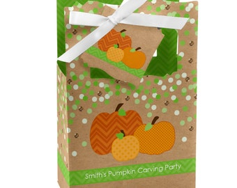 Pumpkin Patch Favor Boxes - Custom Fall or  Thanksgiving Baby Shower and Birthday Party Celebrations - Set of 12
