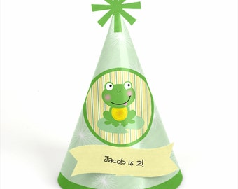 8 Froggy Frog Birthday Party Hats - Personalized Froggy Frog Birthday Party Supplies - Set of 8