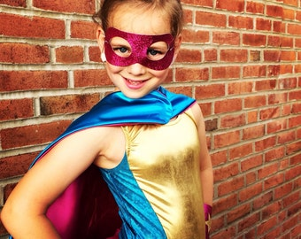 Girls Superhero Set - Glitter Superhero - Sparkle Shape and Initial Cape - Glitter Wrist Bands - Glitter Superhero Mask - Ships Quickly