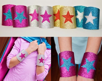 Sparkle Wrist Bands - Sparkle Wrist Cuffs - Superhero Wrist Bands - Superhero Wrist Cuffs - Superhero Birthday Gift - Ships Quickly