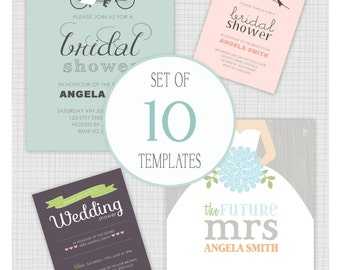 INSTANT DOWNLOAD: 10 PSD Wedding Shower Invitation Templates. Mini Pack 21.