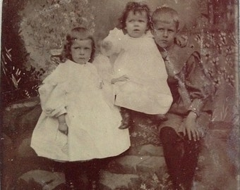 Brother & Sisters // Little Victorian children antique photo, tintype photograph, sad children, white puffy dress