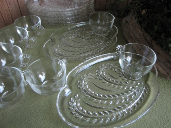 Snack Trays Federal Glass Snack Trays With Glass Cups Set Of