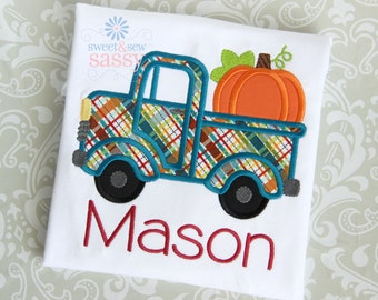 Boys Fall Pumpkin Truck Applique Shirt - Halloween - Thanksgiving