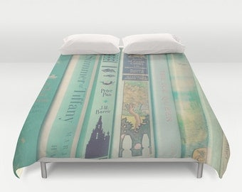 Mint Book Duvet Cover: Home decor, bedding, green, books, blanket, librarian, library, hipster
