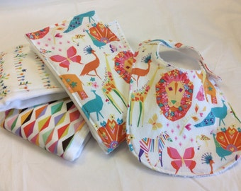 Set of 3 baby burp cloths and bib with Origami Oasis fabric
